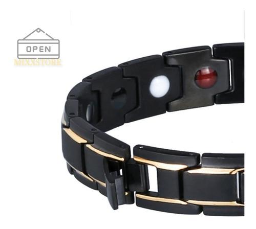 kit 2 pulseiras magnéticas energia equilibrio ajustáveis