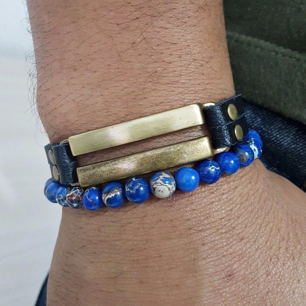 d4874f0bd6f Kit 2 Pulseiras Masculinas Couro Pedras Jaspe Marinho Azul - R  59 ...