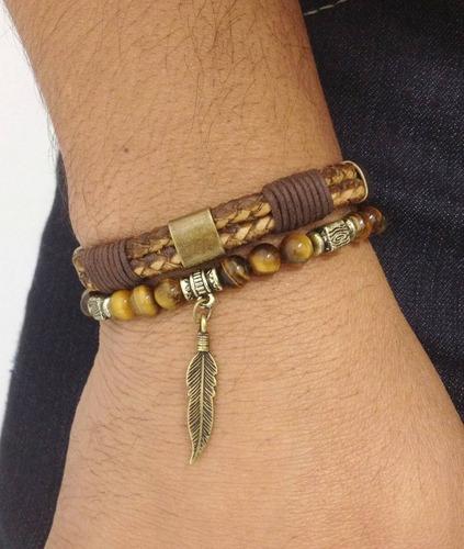kit 2 pulseiras masculinas couro pena pedras olho de tigre