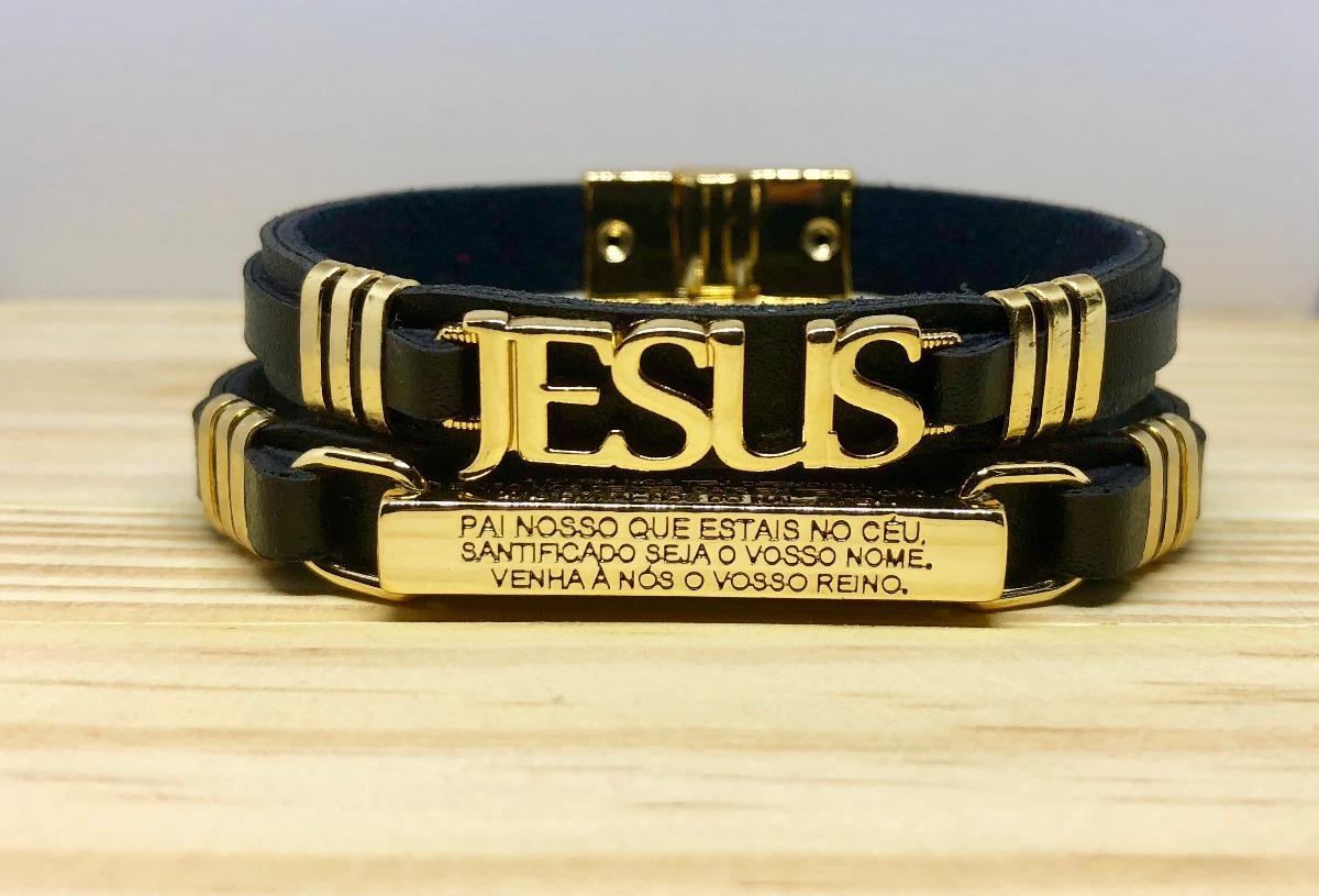 d2889e70f3f Kit 2 Pulseiras Masculinas Em Couro Jesus Pai Nosso Dourado - R  74 ...