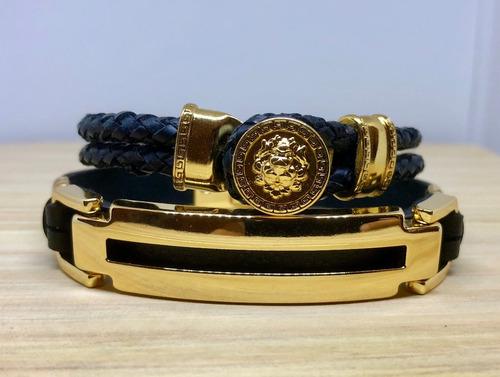 kit 2 pulseiras masculinas em couro trançado bridão dourado