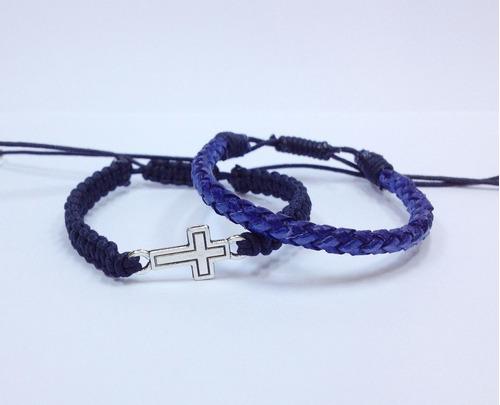 kit 2 pulseiras masculinas femininas couro cruz crucifixo