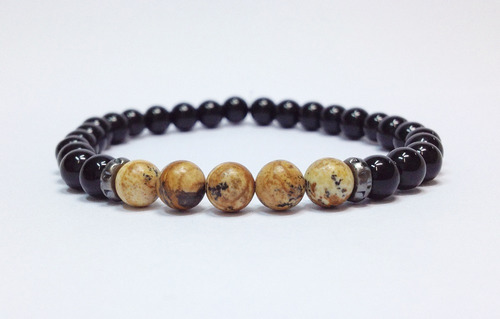 kit 2 pulseiras masculinas pedra onix jaspe infinito macrame