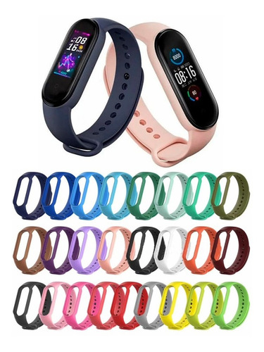 kit 2 pulseiras silicone para xiaomi mi band 5 e 2 películas