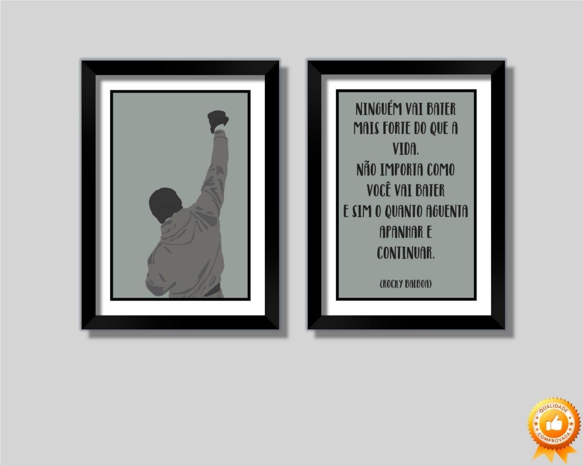 Kit 2 Quadros Rocky Balboa Frase Motivacional