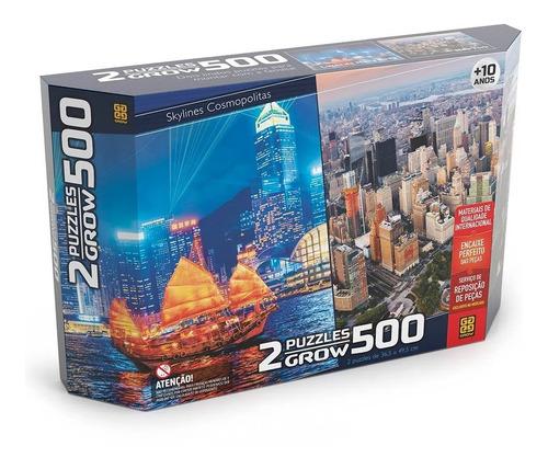 kit 2 quebra cabeça puzzle grow 500 pçs hong kong e new york