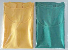 2c064e8b82d6d4 Kit 2 Regatas Cetim Feminina - Amarelo E Verde = 38 40