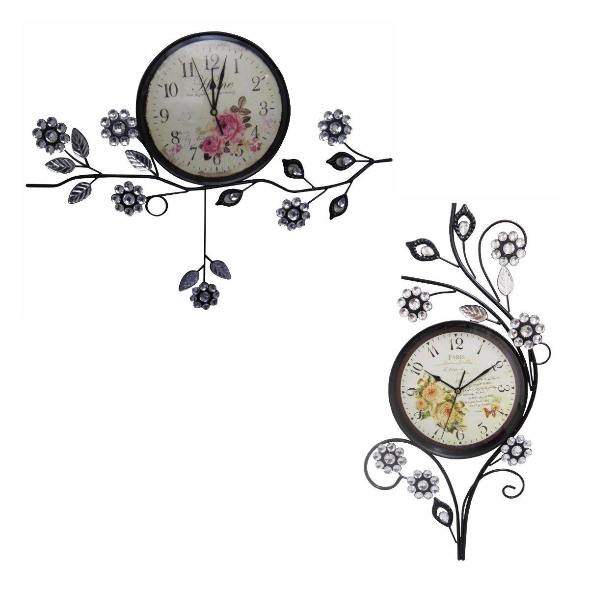 da5ba4be50c kit 2 relogio de parede pendulo vintage paris flores decorar. Carregando  zoom.