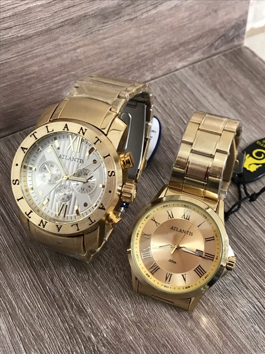8a5de243016 Kit 2 Relógio Dourado P  Casal Atlantis Original C   Caixa - R  199 ...