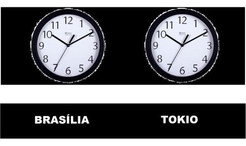 kit 2 relógio silencioso d fuso horário cromado 30cm 80cm lg