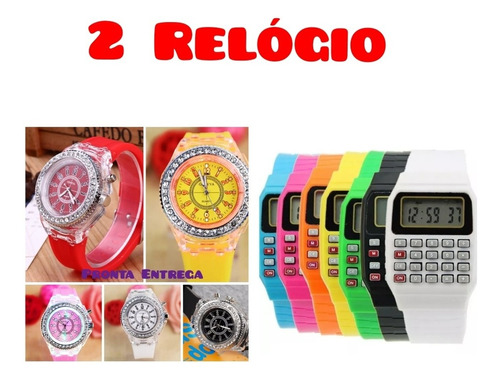 kit 2 relógio várias cores geneva e calculadora frete grátis
