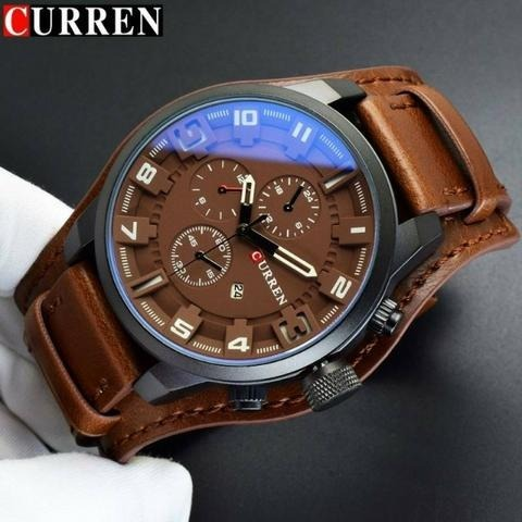 0d69cf0fb47 Kit 2 Relógios Barato Bracelete Couro Masculino 8225 Curren - R  129 ...