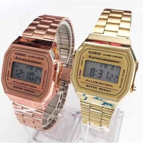 e1aaabf36dc Kit 2 Relógios Casio A168 Retrô Vintage 1 Gold + 1 Rose - R  64