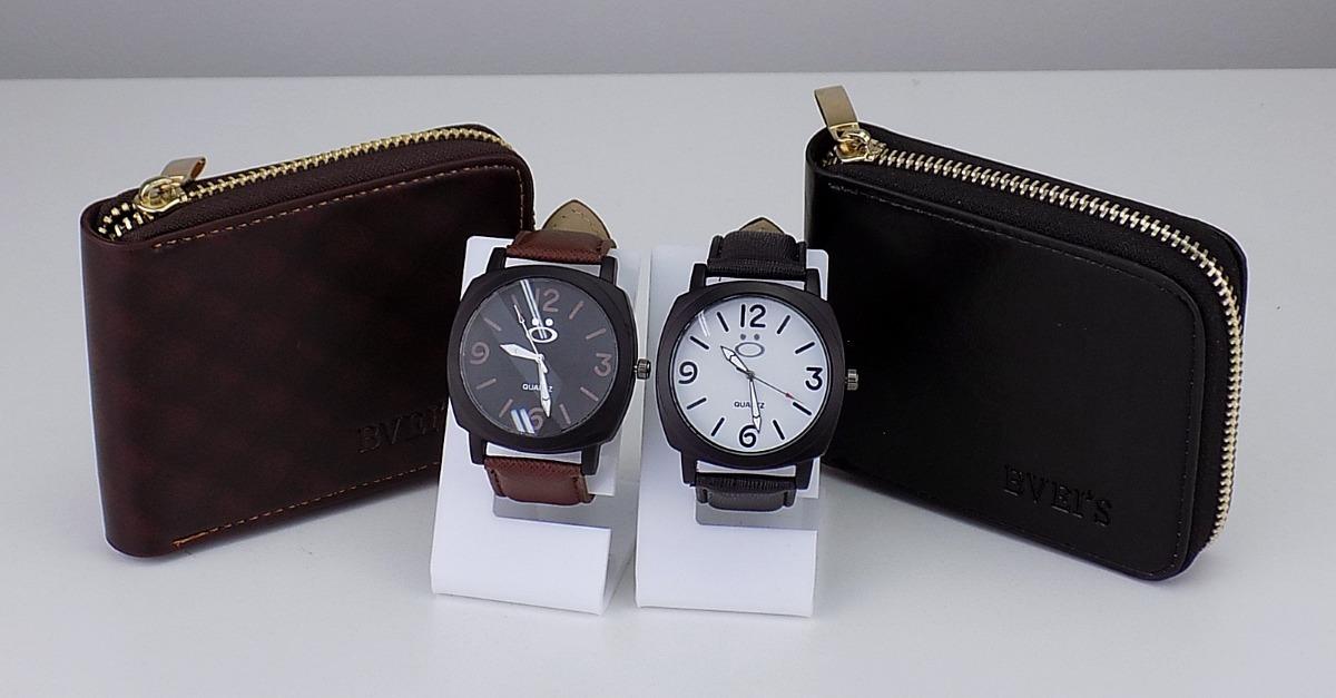 216970476f2 kit 2 relógios masculino 100% original couro grátis carteira. Carregando  zoom.