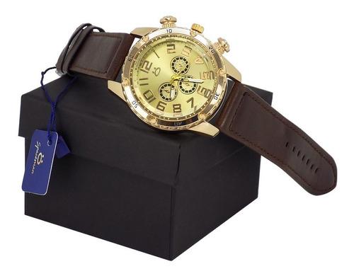 kit 2 relógios masculino dourado original barato couro