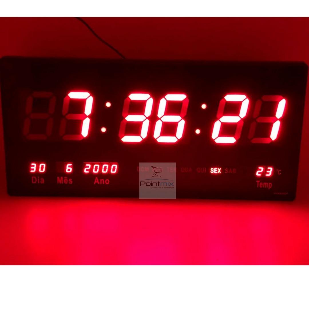 12108cf28bf Kit 2 Relógios Parede Led Digital Gigante 46cm C X 23cm - R  199