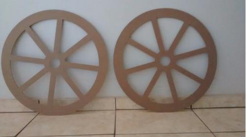 kit 2 rodas carroça provençal rústica mdf festa decoração