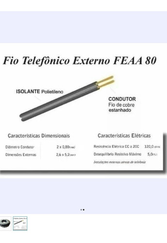 kit 2 rolo de fio externo de telefone -fe aa 80 pead 500m