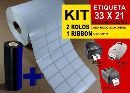 kit 2 rolos etiqueta 33x21 couché 1 ribbon argox elgin