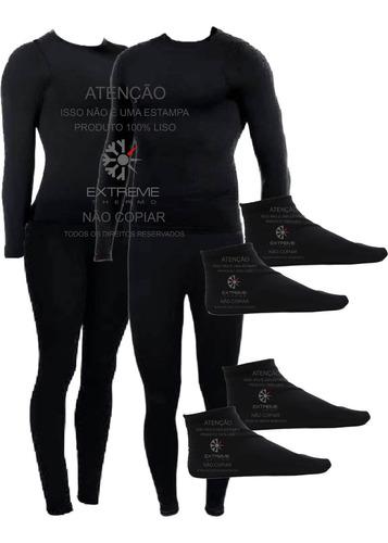 kit 2 roupas térmicas frio intenso calça blusa meias grátis