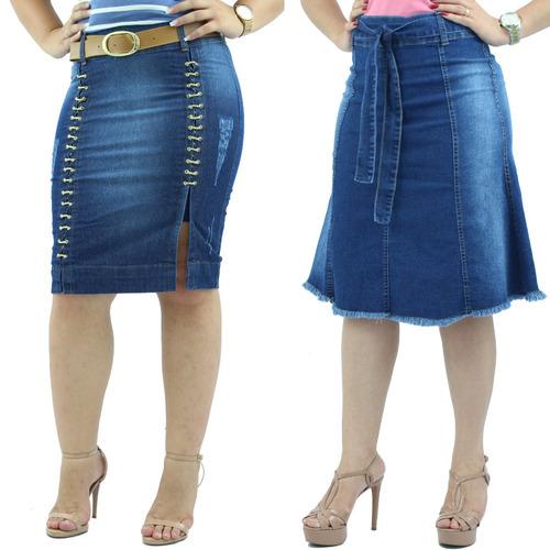 kit  2 saias evangelicas jeans saia trançada + saia longuete