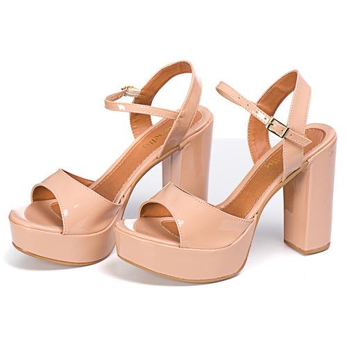 kit 2 sandália meia pata salto grosso verniz frete gratis