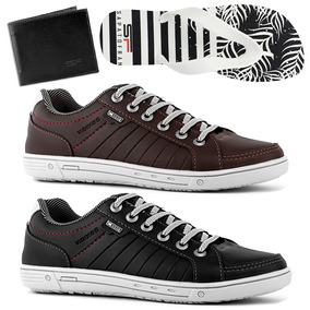 0b4f13af3d Kit 2 Sapatenis Casual Masculino Barato + Chinelo + Carteira
