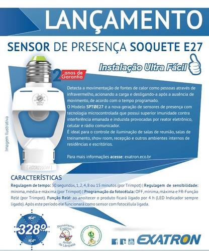 kit 2 sensor de presença p/ iluminação p/ soquete padrão e27