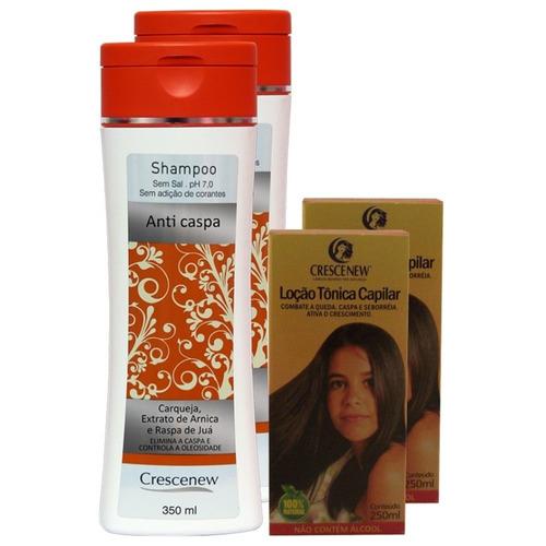 kit 2 shampoo e 2 loção tônico anti-caspa - caspa no cabelo