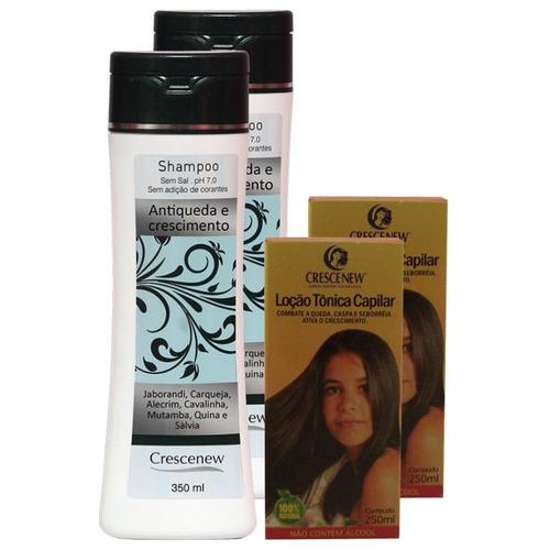 kit 2 shampoo e 2 loção tônico queda cabelo - jaborandi