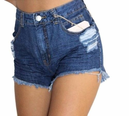 c08146209 Kit 2 Short Jeans Femininos Cintura Alta Hot Pants Atacado. - R  89 ...