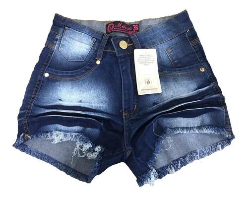 kit 2 shorts jeans feminino cintura alta hot pant lycra