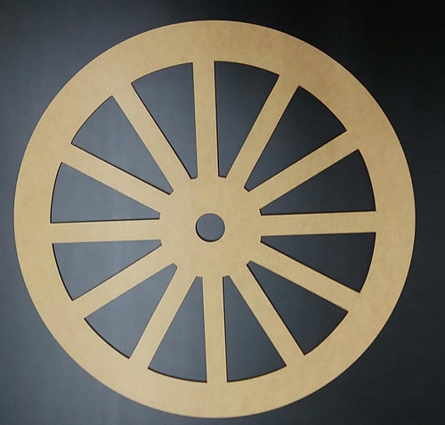 kit 2 silhuetas roda de carroça mdf cru 6mm aplique 50 cm