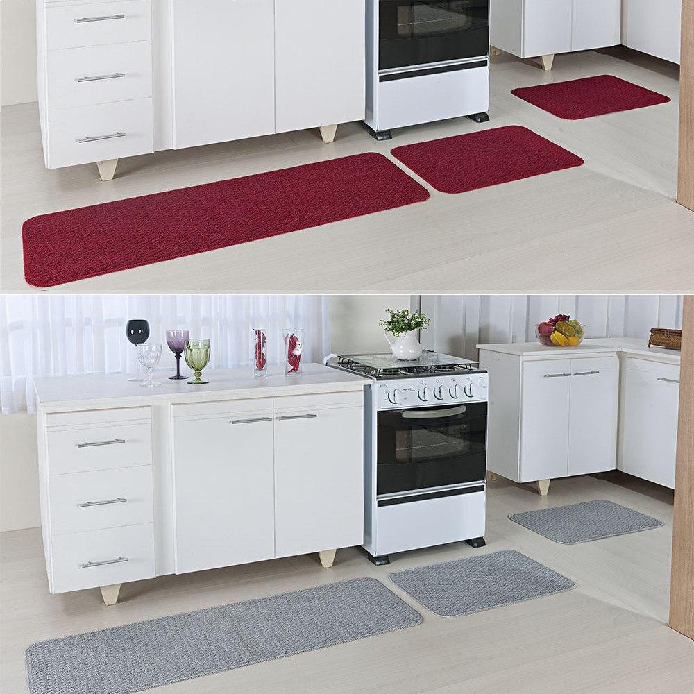 Kit 2 Tapetes Cozinha 6 Pe As Cada Relevo Vermelho E Cinza R 79  ~ Cozinha Cinza Com Vermelho