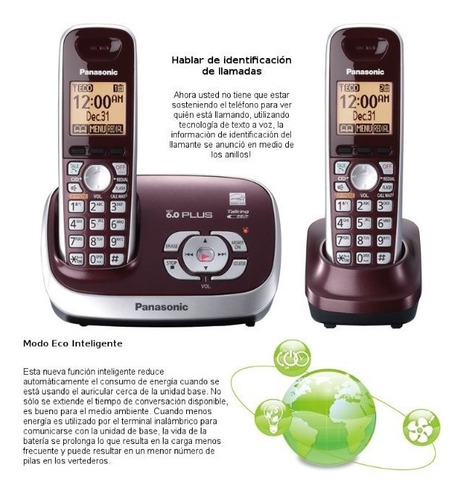 kit 2 teléfonos inalámbricos panasonic tg6572r contestadora
