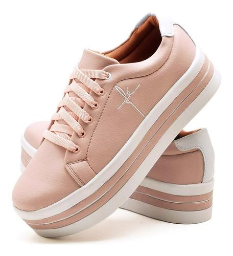 kit 2 tênis femininos bordado fé salto flatform leve confort