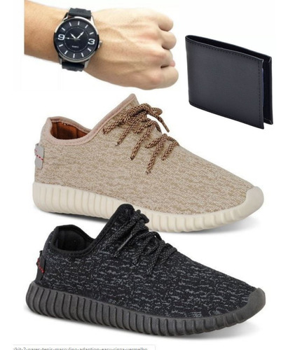 kit 2 tênis sapatênis masculino yzy c/ carteira e relógio