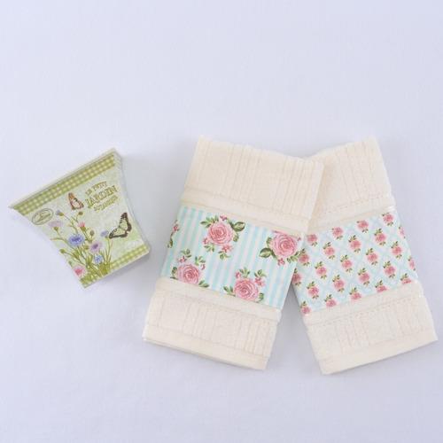 kit 2 toalhas bege lavabo com cachepô plástico floral retrô