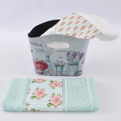 kit 2 toalhas lavabo com cesto couro sintético floral retrô