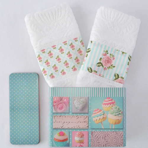kit 2 toalhas lavabo com lata cupcake floral retrô
