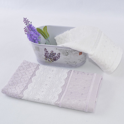 kit 2 toalhas lavabo renda com cachepô metal lavanda retrô