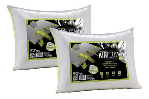 kit 2 travesseiros airflow altenburg branco suporte firme