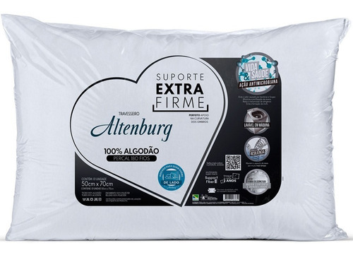 kit 2 travesseiros extra firme 180 fios 50x70cm - altenburg
