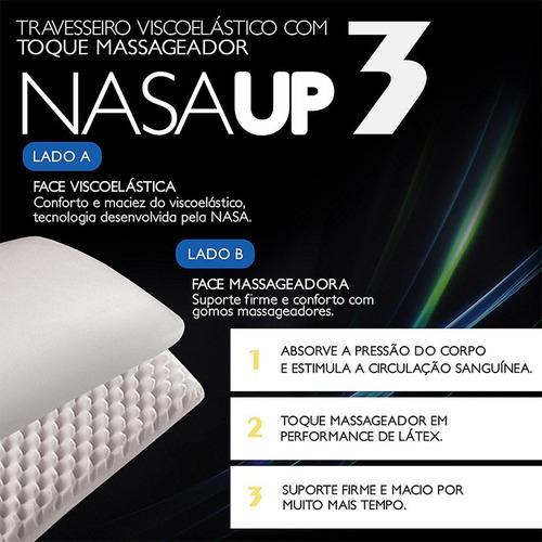 kit 2 travesseiros nasa up3 viscoelástico macio fibrasca