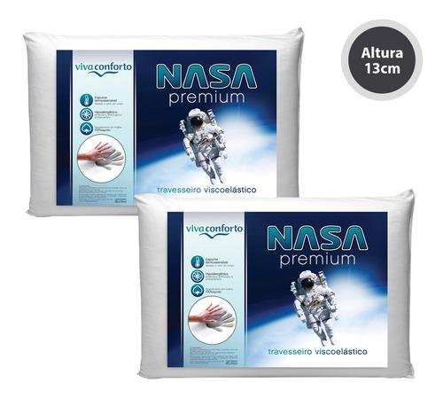 kit 2 travesseiros nasa viva conforto altura 13cm original