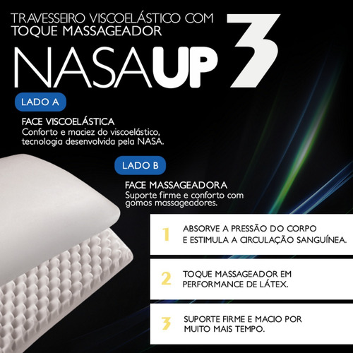 kit 2 travesseiros viscoelástico anti-acaro nasa up3