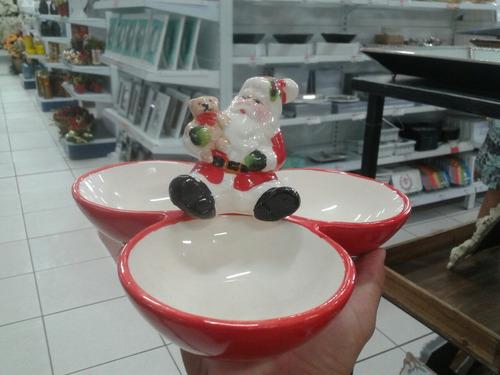 kit 2 trio tigela de papai noel de porcelana natal 22 cm