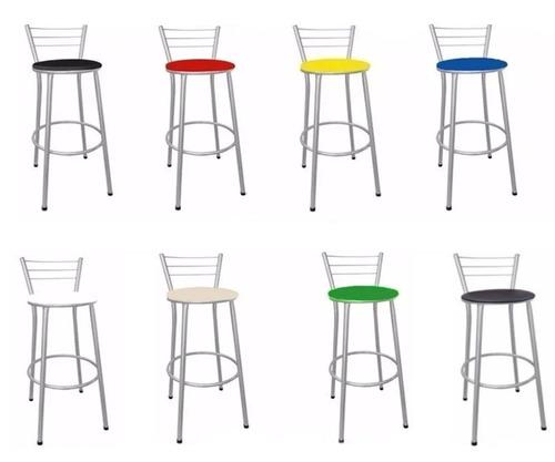 kit 2 unid banqueta banco alto encosto bar cozinha - 9 cores