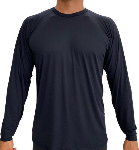 kit 2 unidades, camiseta dryfit 100% poliamida - manga longa