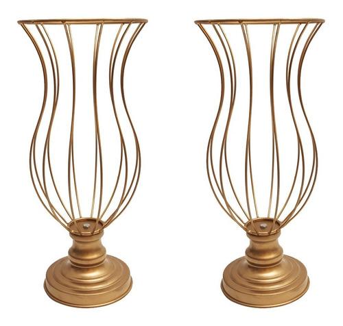 kit 2 vasos armação para pedrarias festa decoração 45cm luxo